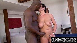 Granny Vs BBC - Juicy Mature Jessica Hot Spreads Wide for a Thick Dark Dick