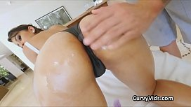 Oiled Latina booty pounded from behind