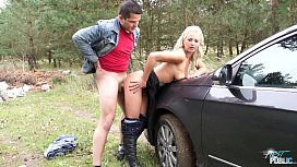 MyFirstPublic Young Nathaly Cherie stops the car and fucks her guy