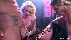 Two super hot sluts getting fuckedf by the stud'_s rock hard cock