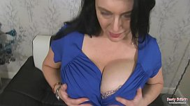 British Milf Sabrina Jade Playing With Her Giant Boobs And Shaved Pussy
