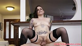 Inked goth beauty swallows a load of jizz