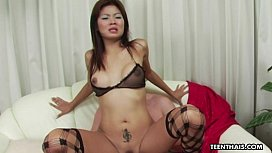 Perfect body Asian slut getting her wet coochie hammered
