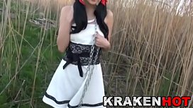 Krakenhot Submission of a chained brunette teen outdoor