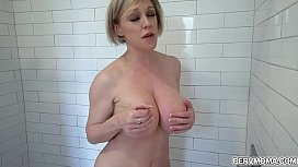 Hot cougar Dee Williams is taking a shower and she invited her hot stepson to join her and enjoys a quick doggystyle fuck with him.
