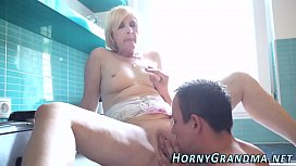 Showered grandma jizzed