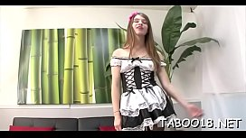 Appealing blonde teen enjoys pleasing her men crazy long shaft