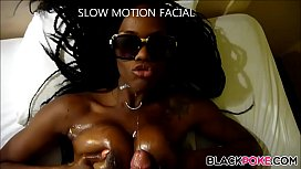 Busty black babe gets facialized