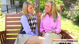 Mature mommy and stepteen take a cumshot