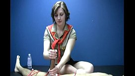 Naked man is bound for a one on one Girl Scout masturbation