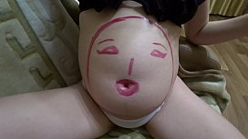 Body art on a pregnant figure and a sex toy in a hairy pussy. Mature lesbians have fun at home. Fetish POV.