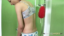 Desirable Rene loves masturbating in the shower while looking at you