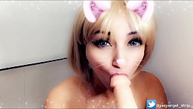 Cosplay Girl Gatinha usando plug anal chupando gostoso te fazendo gozar nos peitos loira gostosa