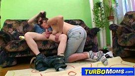 Hirsute housewife Karin sex with a teen boy