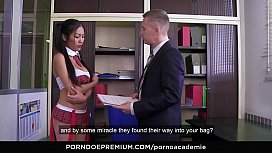 PORNO ACADEMIE - Cute Thai schoolgirl Poopea Pons enjoys first anal fuck