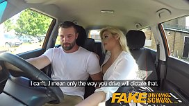Fake Driving School Big sticky facial finish for hot busty posh examiner