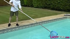 Granny Enjoys Anal the Hard Cock of Pool Cleaner