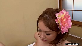 Tasty Asian chick Miharu Kai drilled up her hairy twat