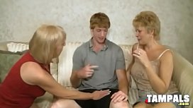 Two Mature Blonde Swingers Suck One Dick