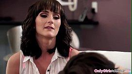 Lesbian mature masseuse seduces busty babe