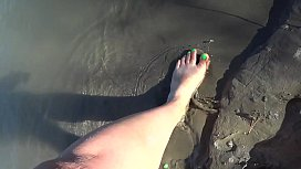 Foot fetish outdoors in public. Compilation: bare feet and beautiful legs in stockings with high-heeled shoes.