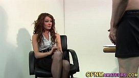 Clothed brit rides cock