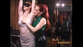 Latexclad redhead wench has her way with a freckled ginger hussy
