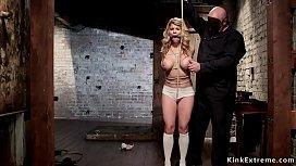 Gagged huge tits blonde in hogtie