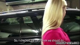 Hot blond Eurobabe Ellen fucked in the parking lot for cash
