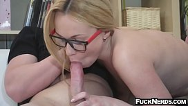 Hot Blonde Wearing Glass Hardcore Sex
