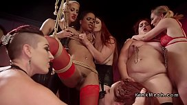 Orgy ass punishment in dyke bar