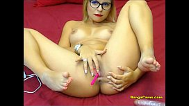 Classy blonde double penetrating her holes with toys