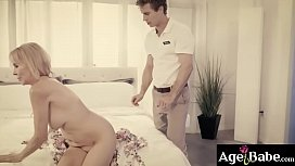 Erica Lauren seduces a young guy and rubs her down until she reacts