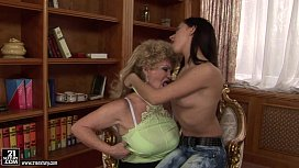 Busty Granny Effie Licking Teen Pussy sex image