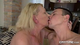 Blonde Gilf turned by a stud half her age
