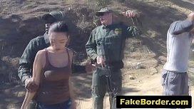 Border patrol agent buries dick into latina tight cunt
