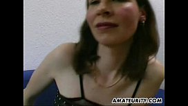 Busty and hairy amateur Milf blowjob, titjob with cum on tits