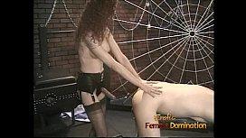 Slim redhead bitch enjoys banging her man with a huge strapon