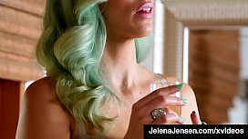 Green Haired Jelena Jenson Rubs Her Hot Wet Pussy!