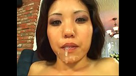 Asian girl Kailya Lynn swallows load of cum then fucked from behind