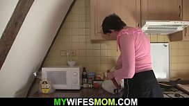 Horny motherinlaw seduces and rides his big dick