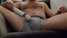Using a vibrator on my small dick and cumming in my boxer briefs