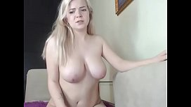 Blonde chick topless chatting on cam