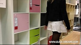 Upskirt and Flashing in a famous shop