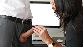 30632499: Amateur Handjob By Secretary For Office Boss Huge Cumshot In Mouth With Red Lips