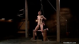 Gagged slave gets anal hooked