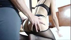 Kinky brunette sucks guy'_s tool in sexy black stockings