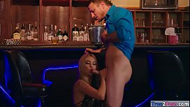 Saucy babe Kat Dior drilled in the bar