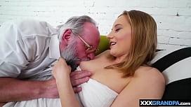 Petite blonde teen moaning on old grandpas hard cock