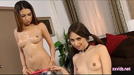 Two Teens share a cock for facial